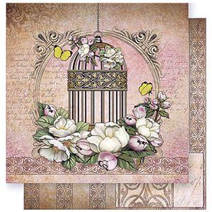 Papel-Scrapbook-Litoarte-SD-383-305x305cm-Gaiola-Dourada-com-Flores