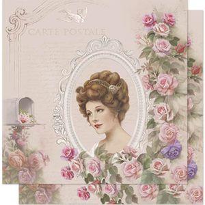 Papel-Scrapbook-Litoarte-SD-584-305x305cm-Dama-Vintage-com-Moldura
