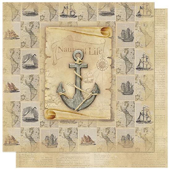 Papel-Scrapbook-Litoarte-SD-590-305x305cm-Vintage-Nautical-Life