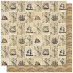 Papel-Scrapbook-Litoarte-SD-591-305x305cm-Jornal-Nautical