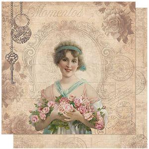 Papel-Scrapbook-Litoarte-SD-596-305x305cm-Vintage-Woman-com-Jornal