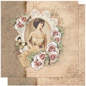 Papel-Scrapbook-Litoarte-SD-598-305x305cm-Vintage-Woman-e-Renda-Flores