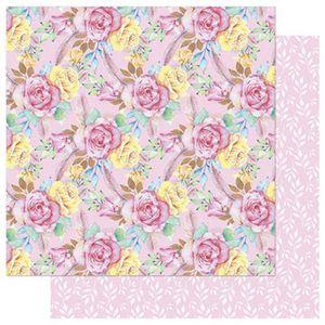 Papel-Scrapbook-Litoarte-SD-739-305x305cm-Floral-Cor-de-Rosa-e-Penas