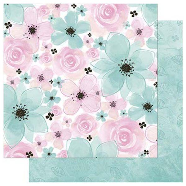 Papel-Scrapbook-Litoarte-SD-749-305x305cm-Flores-Aquareladas