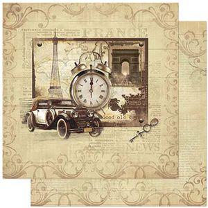 Papel-Scrapbook-Litoarte-SD-784-305x305cm-Carro-Antigo-Relogio-Vintage