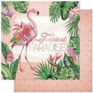 Papel-Scrapbook-Litoarte-305x305cm-SD-804-Flamingos-e-Flores-Tropicais