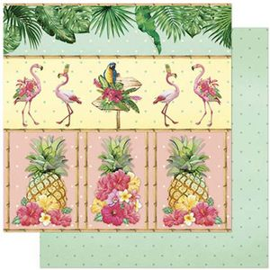 Papel-Scrapbook-Litoarte-305x305cm-SD-805-Tropical-com-Abacaxi-e-Flamingo