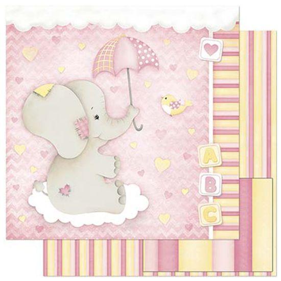 Papel-Scrapbook-Litoarte-305x305cm-SD-808-Bebe-Elefante-Menina