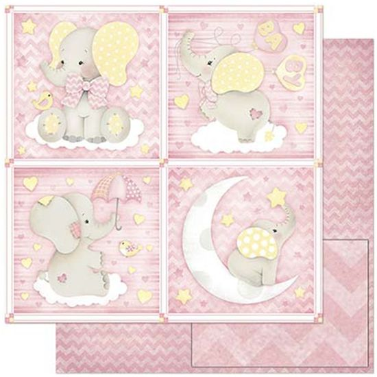 Papel-Scrapbook-Litoarte-305x305cm-SD-809-Quadros-Bebe-Elefante-Fundo-Rosa