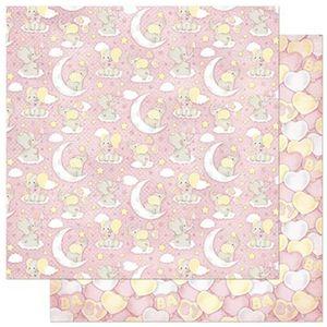 Papel-Scrapbook-Litoarte-305x305cm-SD-810-Padrao-Bebes-Elefantes-Fundo-Rosa