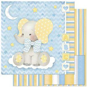 Papel-Scrapbook-Litoarte-305x305cm-SD-812-Bebe-Elefante-Fundo-Azul-e-Listras
