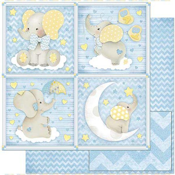 Papel-Scrapbook-Litoarte-305x305cm-SD-813-Quadros-Bebe-Elefante-Fundo-Azul
