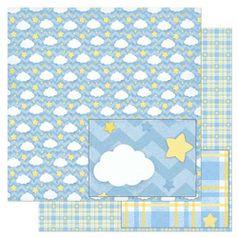 Papel-Scrapbook-Litoarte-305x305cm-SD-815-Padrao-Nuvens-e-Estrelas