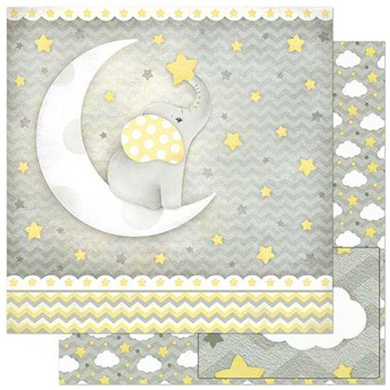 Papel-Scrapbook-Litoarte-305x305cm-SD-816-Bebe-Elefante-na-Lua-Fundo-Cinza