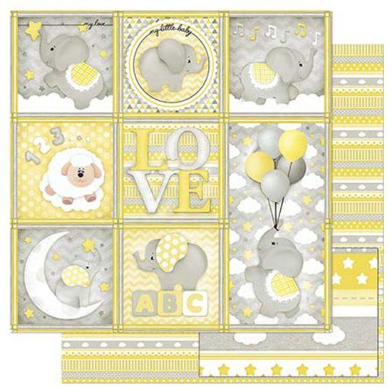 Papel-Scrapbook-Litoarte-305x305cm-SD-817-Quadros-Bebe-Elefante-Cinza-e-Amarelo