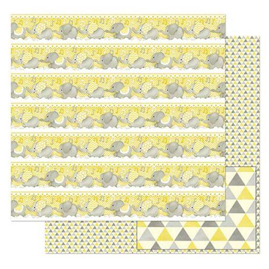 Papel-Scrapbook-Litoarte-305x305cm-SD-818-Elefantes-Cinza-com-Amarelo