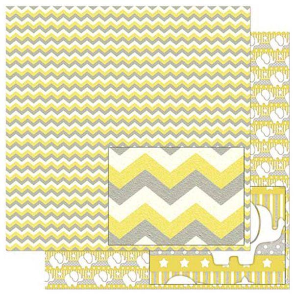 Papel-Scrapbook-Litoarte-305x305cm-SD-819-Chevron-Amarelo-Branco-e-Cinza
