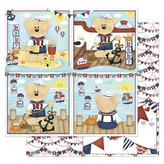 Papel-Scrapbook-Litoarte-305x305cm-SD-829-Urso-Marinheiro-Bebe