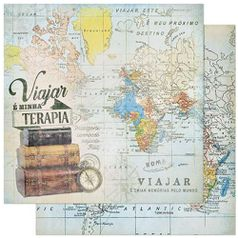 Papel-Scrapbook-Litoarte-305x305cm-SD-840-Mapa-Mundi-Viajar