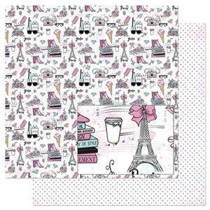 Papel-Scrapbook-Litoarte-305x305cm-SD-852-Flores-Sapatos-e-Livros