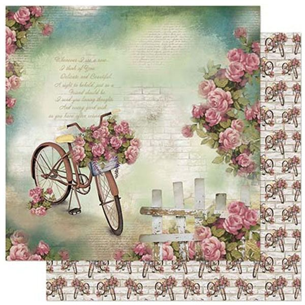 Papel-Scrapbook-Litoarte-305x305cm-SD-854-Bicicletas-e-Rosas-Fundo-Verde