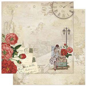 Papel-Scrapbook-Litoarte-305x305cm-SD-856-Moca-Viajante-e-Flores-Vermelhas