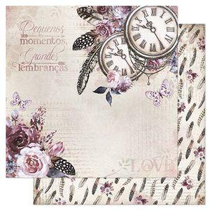 Papel-Scrapbook-Litoarte-305x305cm-SD-857-Relogio-Flores-e-Penas