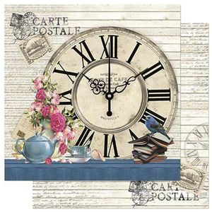 Papel-Scrapbook-Litoarte-305x305cm-SD-858-Relogio-Bule-e-Flores