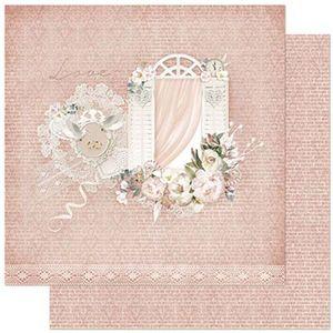 Papel-Scrapbook-Litoarte-305x305cm-SD-860-Janela-com-Flores-e-Fundo-Rosa