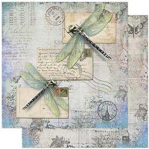 Papel-Scrapbook-Litoarte-305x305cm-SD-862-Libelulas-e-Cartas