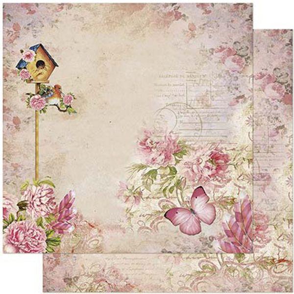 Papel-Scrapbook-Litoarte-305x305cm-SD-863-Casa-de-Passarinho-e-Flores