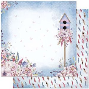 Papel-Scrapbook-Litoarte-305x305cm-SD-864-Casa-de-Passarinho-e-Flores