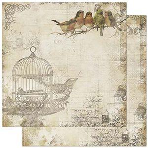 Papel-Scrapbook-Litoarte-305x305cm-SD-865-Passarinhos-no-Galho-e-Gaiola