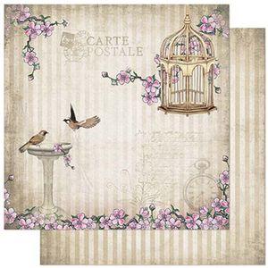 Papel-Scrapbook-Litoarte-305x305cm-SD-866-Passaros-Flores-e-Gaiola
