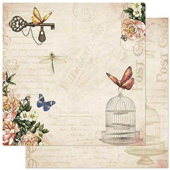 Papel-Scrapbook-Litoarte-305x305cm-SD-867-Flores-e-Borboleta-com-Gaiola