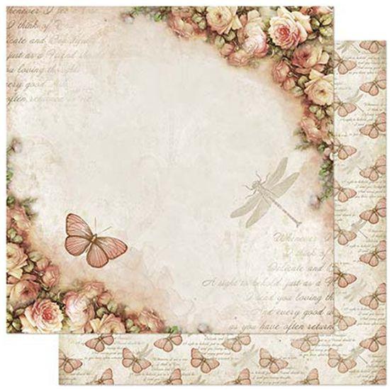 Papel-Scrapbook-Litoarte-305x305cm-SD-868-Borboleta-e-Rosas