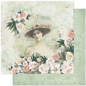Papel-Scrapbook-Litoarte-305x305cm-SD-869-Dama-e-Rosas-Coloridas