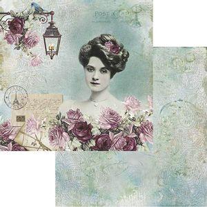 Papel-Scrapbook-Litoarte-305x305cm-SD-870-Dama-e-Rosas-Fundo-Verde