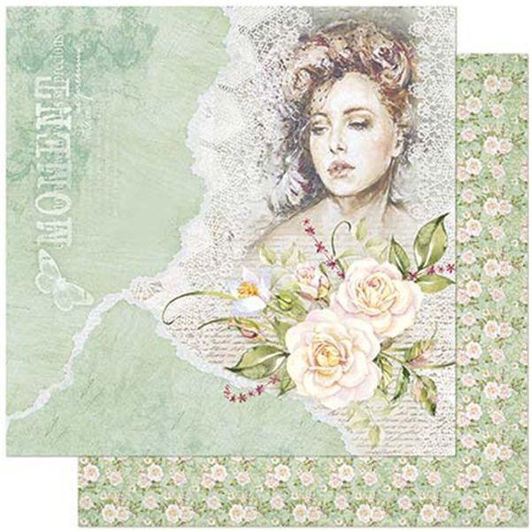 Papel-Scrapbook-Litoarte-305x305cm-SD-871-Dama-e-Rosas-Fundo-Verde