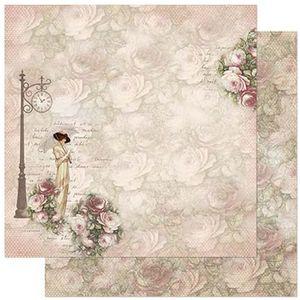 Papel-Scrapbook-Litoarte-305x305cm-SD-872-Dama-de-Sombrinha-e-Rosas