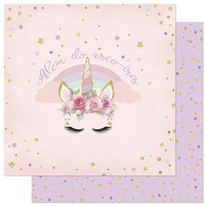 Papel-Scrapbook-Litoarte-305x305cm-SD-875-Chifre-de-Unicornio-e-Flores