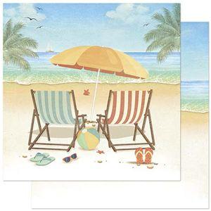 Papel-Scrapbook-Litoarte-305x305cm-SD-876-Praia-com-Cadeiras-e-Guarda-Sol