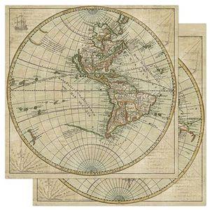 Papel-Scrapbook-Litoarte-305x305cm-SD-890-Balao-Mapa-Mundi-Marrom