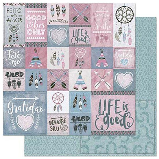 Papel-Scrapbook-Litoarte-305x305cm-SD-891-Tags-Tribais-Rosas-e-Cinzas