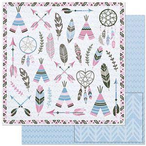 Papel-Scrapbook-Litoarte-305x305cm-SD-893-Elementos-Tribais-Rosa-e-Cinza