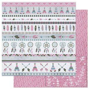Papel-Scrapbook-Litoarte-305x305cm-SD-895-Padrao-Barrado-Tribal-Rosa-e-Cinza