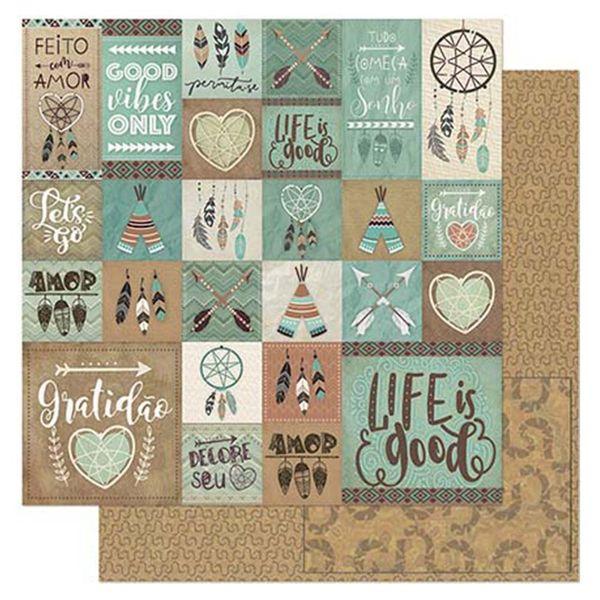 Papel-Scrapbook-Litoarte-305x305cm-SD-897-Tags-Tribais-Marrons-e-Verdes