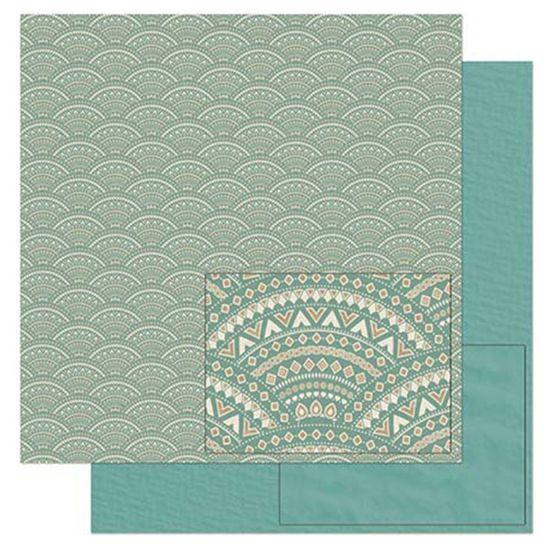 Papel-Scrapbook-Litoarte-305x305cm-SD-898-Padrao-Tribal-Verde