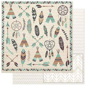 Papel-Scrapbook-Litoarte-305x305cm-SD-899-Elementos-Tribais-Marrom-e-Verde