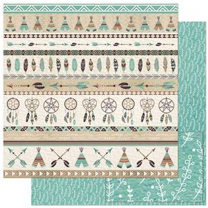 Papel-Scrapbook-Litoarte-305x305cm-SD-901-Barrado-Tribal-Marrom-e-Verde